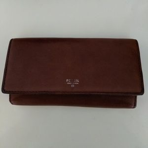 Brown Vintage Fossil Leather Wallet